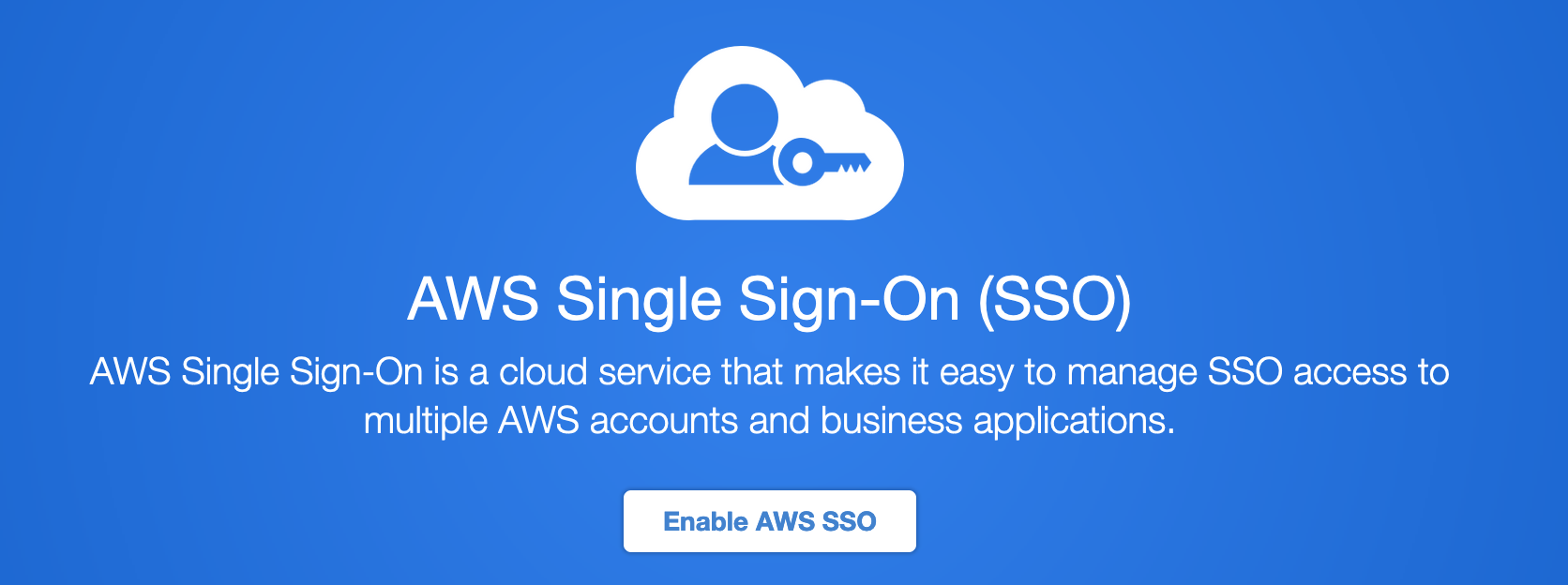 When using AWS in an enterprise environment, best practices dictate to use a single sign-on service for identity and access management. AWS SSO is a p
